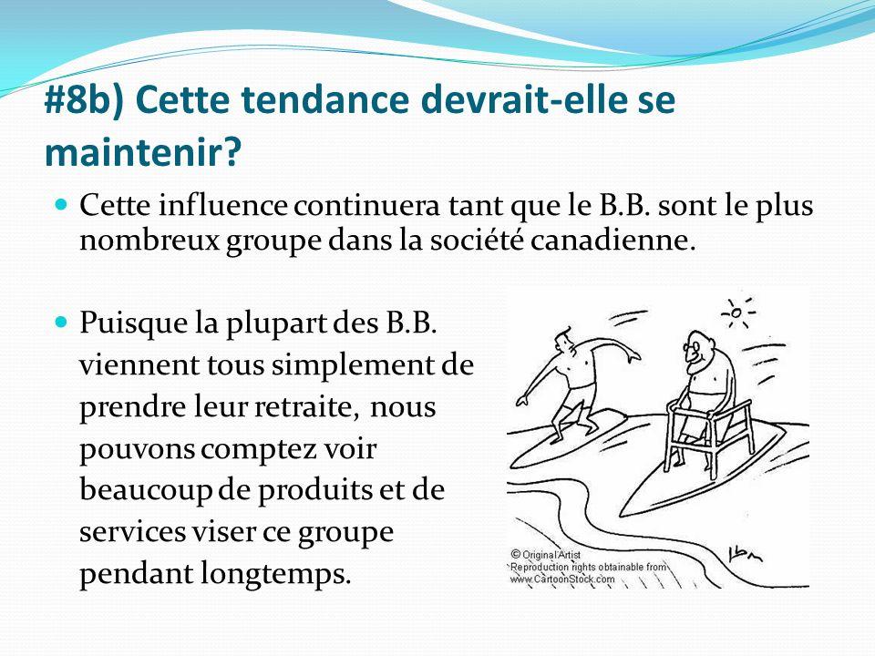 #8b) Cette tendance devrait-elle se maintenir? Cette influence continuera tant que le B.B. sont le plus nombreux groupe dans la société canadienne. Pu