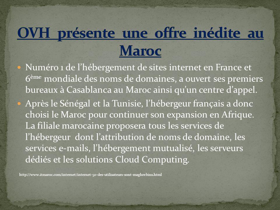Numéro 1 de lhébergement de sites internet en France et 6 ème mondiale des noms de domaines, a ouvert ses premiers bureaux à Casablanca au Maroc ainsi quun centre dappel.