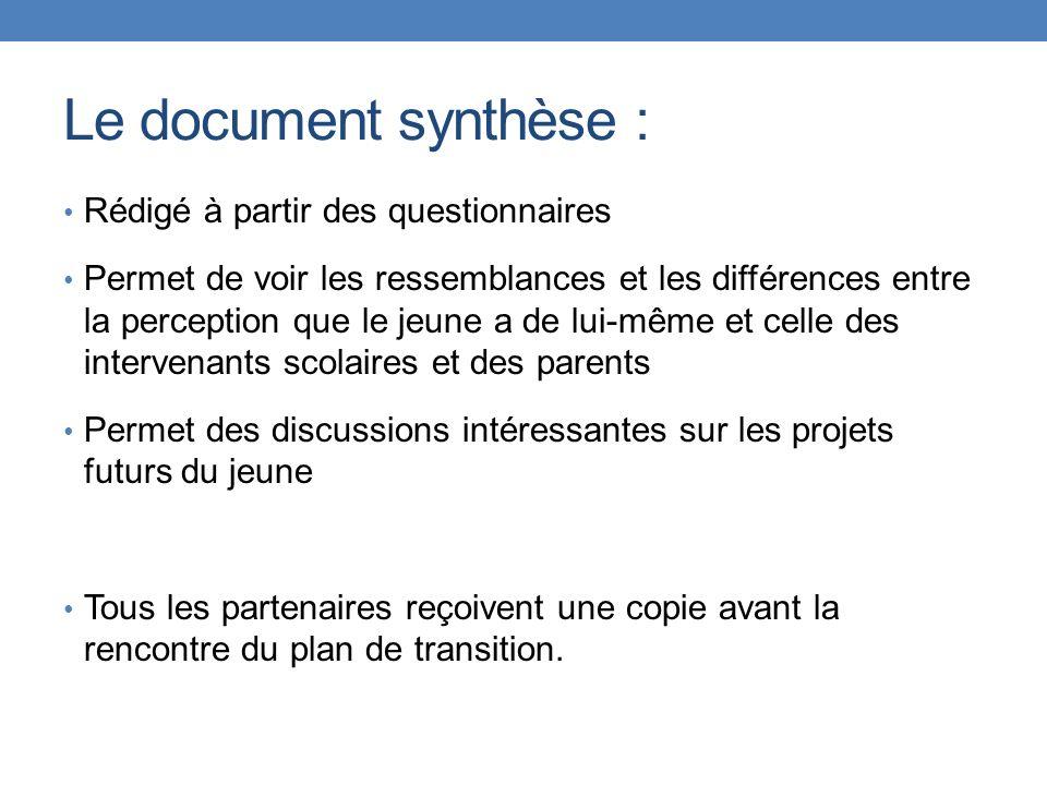 Le document synthèse : Rédigé à partir des questionnaires Permet de voir les ressemblances et les différences entre la perception que le jeune a de lu
