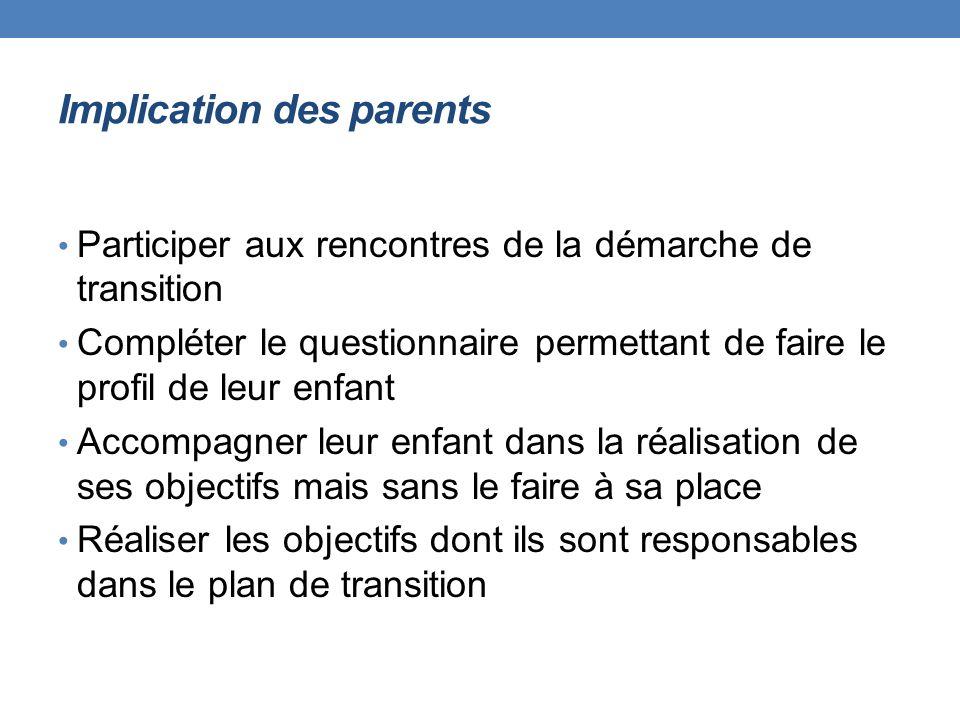Implication des parents Participer aux rencontres de la démarche de transition Compléter le questionnaire permettant de faire le profil de leur enfant