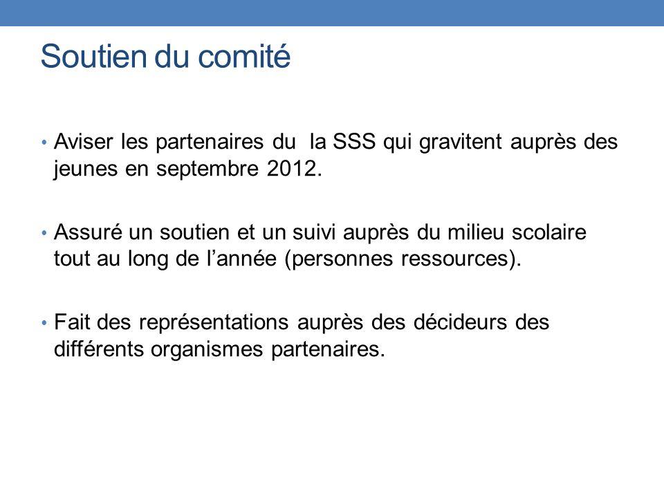 Soutien du comité Aviser les partenaires du la SSS qui gravitent auprès des jeunes en septembre 2012. Assuré un soutien et un suivi auprès du milieu s