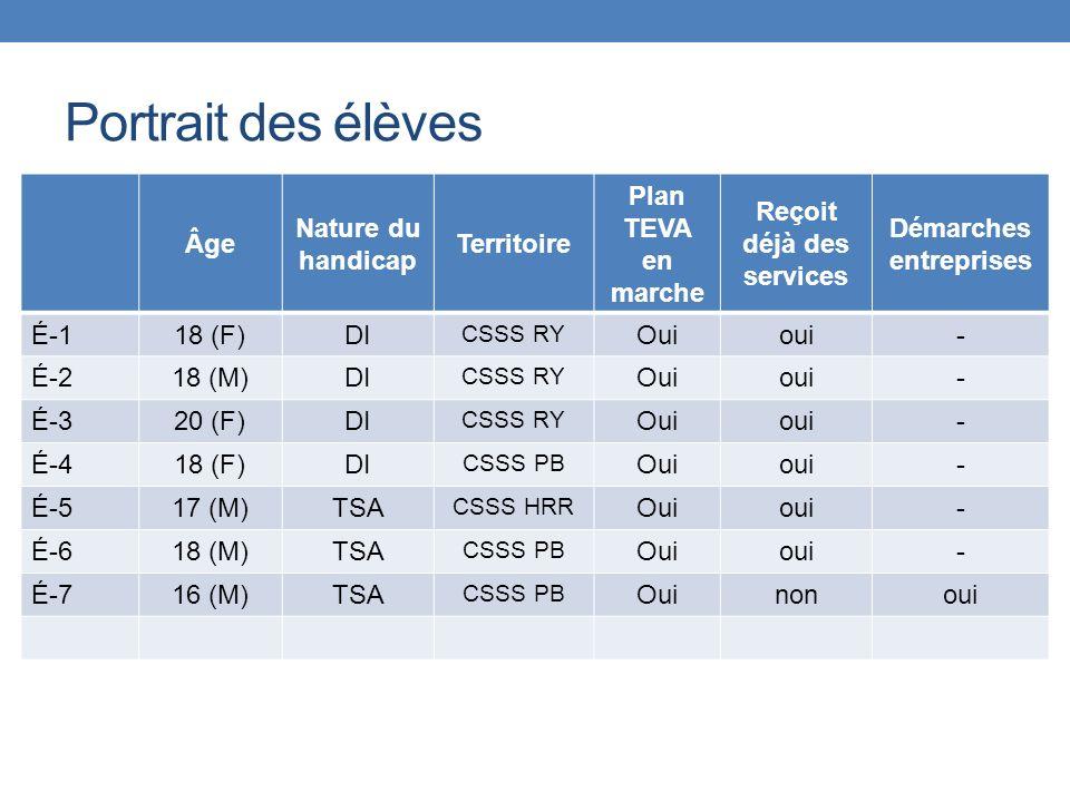 Portrait des élèves Âge Nature du handicap Territoire Plan TEVA en marche Reçoit déjà des services Démarches entreprises É-118 (F)DI CSSS RY Ouioui- É