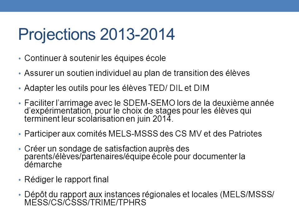 Projections 2013-2014 Continuer à soutenir les équipes école Assurer un soutien individuel au plan de transition des élèves Adapter les outils pour le