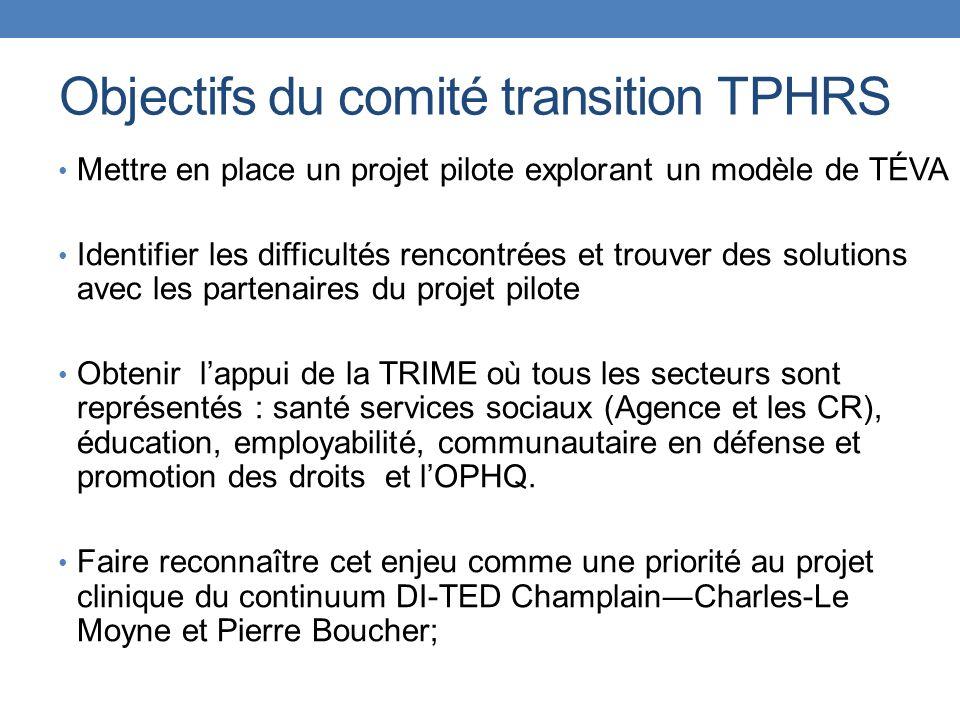 Objectifs du comité transition TPHRS Mettre en place un projet pilote explorant un modèle de TÉVA Identifier les difficultés rencontrées et trouver de