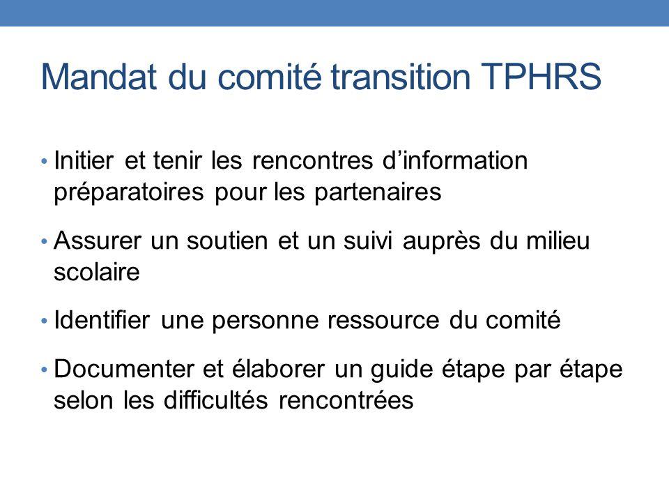 Mandat du comité transition TPHRS Initier et tenir les rencontres dinformation préparatoires pour les partenaires Assurer un soutien et un suivi auprè