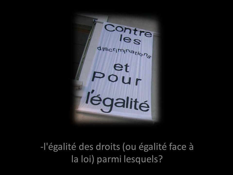 -l égalité des droits (ou égalité face à la loi) parmi lesquels?