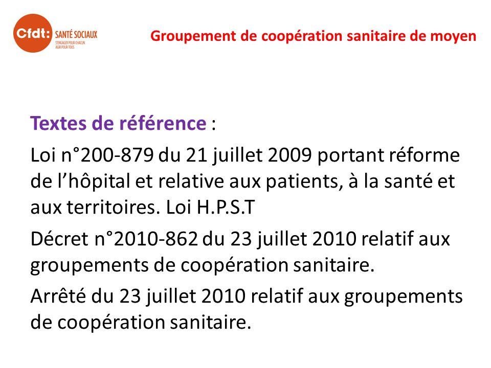 Groupement de coopération sanitaire de moyen Textes de référence : Loi n°200-879 du 21 juillet 2009 portant réforme de lhôpital et relative aux patien