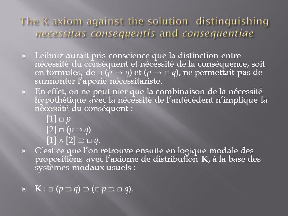Leibniz aurait pris conscience que la distinction entre nécessité du conséquent et nécessité de la conséquence, soit en formules, de ( p q ) et ( p q ), ne permettait pas de surmonter laporie nécessitariste.