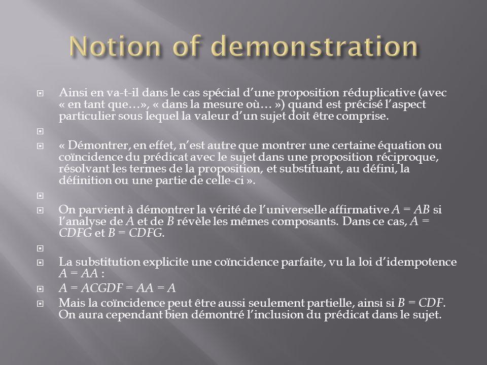 Ainsi en va-t-il dans le cas spécial dune proposition réduplicative (avec « en tant que…», « dans la mesure où… ») quand est précisé laspect particulier sous lequel la valeur dun sujet doit être comprise.