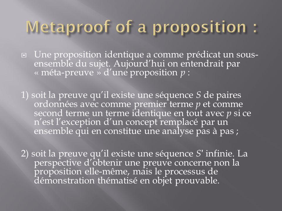 Une proposition identique a comme prédicat un sous- ensemble du sujet.