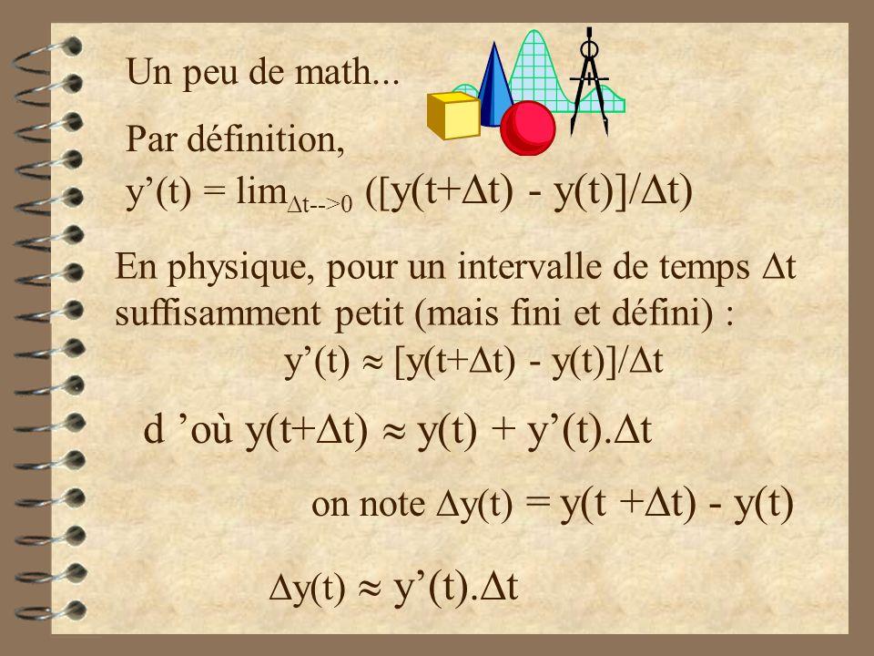 Par définition, y(t) = lim t-->0 ([ y(t+ t) - y(t)]/ t) Un peu de math... En physique, pour un intervalle de temps t suffisamment petit (mais fini et