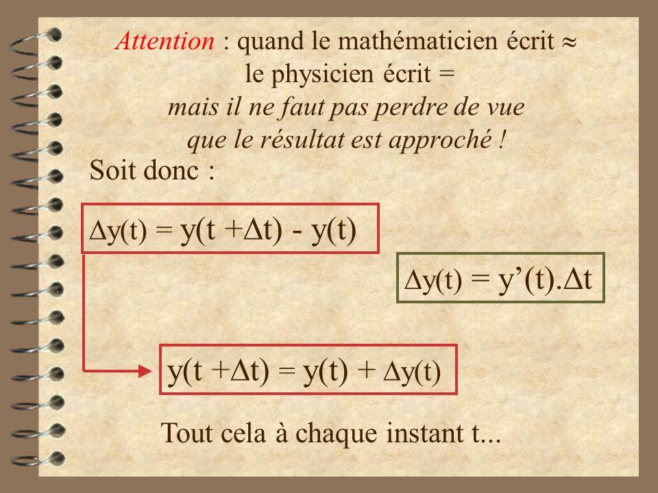 y(t) = y(t + t) - y(t) y(t + t) = y(t) + y(t) Soit donc : Tout cela à chaque instant t... y(t) = y(t). t Attention : quand le mathématicien écrit le p