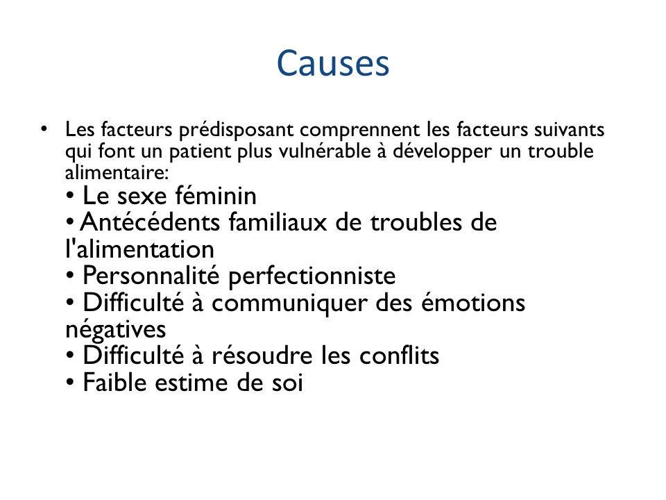 Causes Les facteurs prédisposant comprennent les facteurs suivants qui font un patient plus vulnérable à développer un trouble alimentaire: Le sexe fé