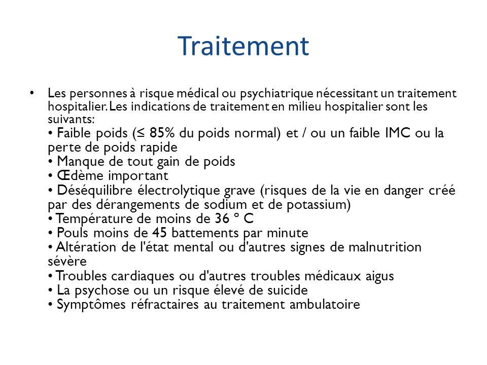 Traitement Les personnes à risque médical ou psychiatrique nécessitant un traitement hospitalier. Les indications de traitement en milieu hospitalier