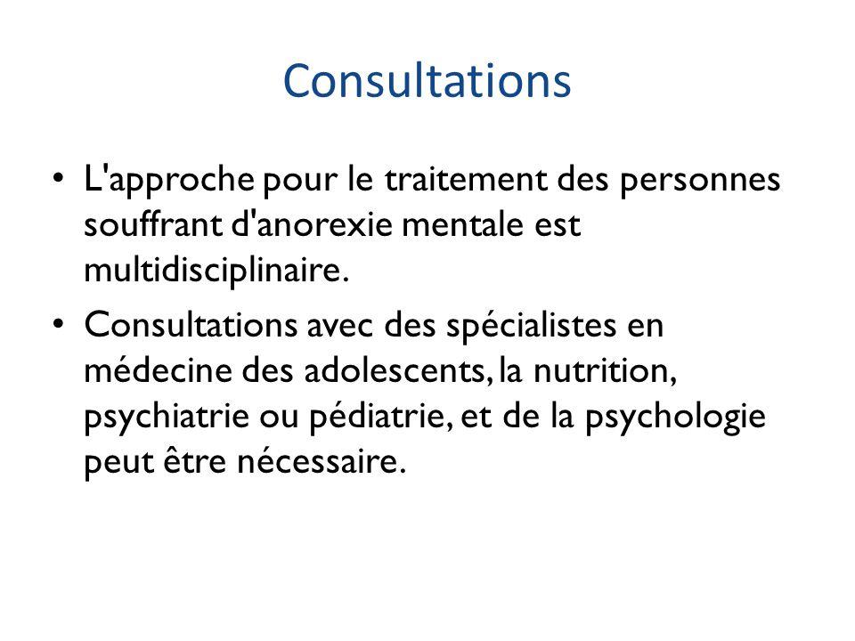 Consultations L'approche pour le traitement des personnes souffrant d'anorexie mentale est multidisciplinaire. Consultations avec des spécialistes en