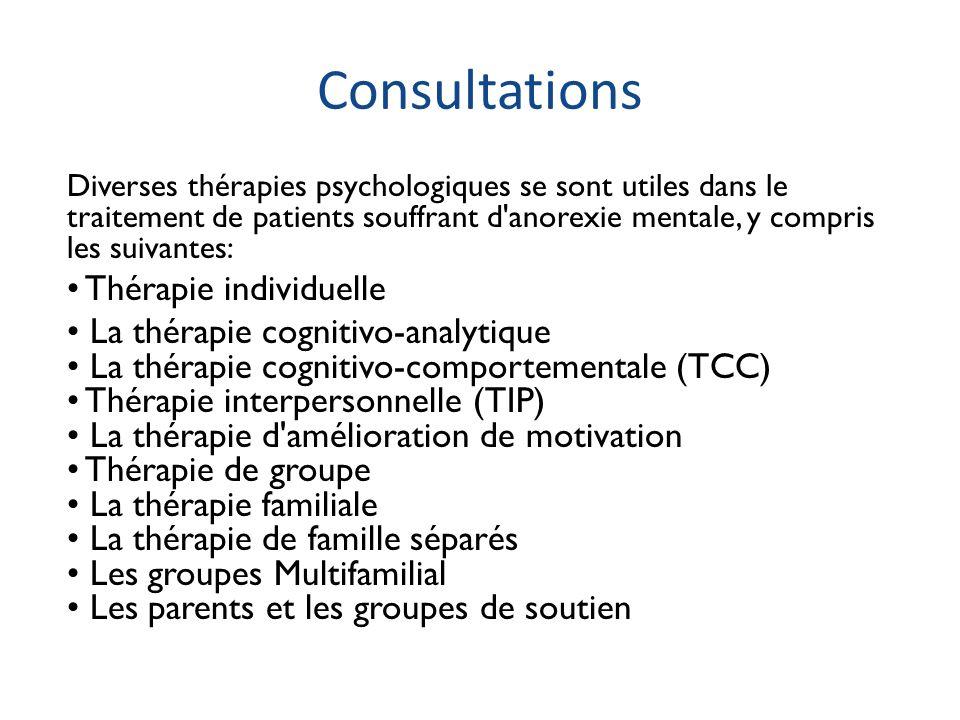 Consultations Diverses thérapies psychologiques se sont utiles dans le traitement de patients souffrant d'anorexie mentale, y compris les suivantes: T