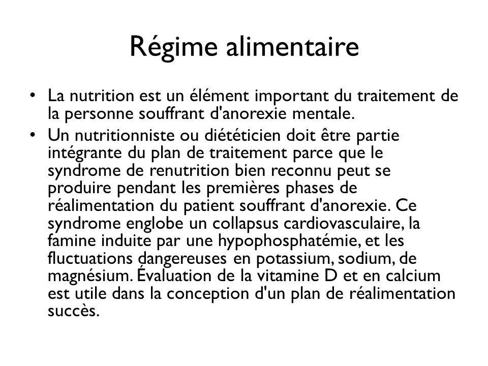 Régime alimentaire La nutrition est un élément important du traitement de la personne souffrant d'anorexie mentale. Un nutritionniste ou diététicien d