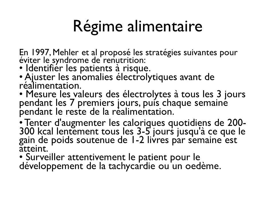 Régime alimentaire En 1997, Mehler et al proposé les stratégies suivantes pour éviter le syndrome de renutrition: Identifier les patients à risque. Aj