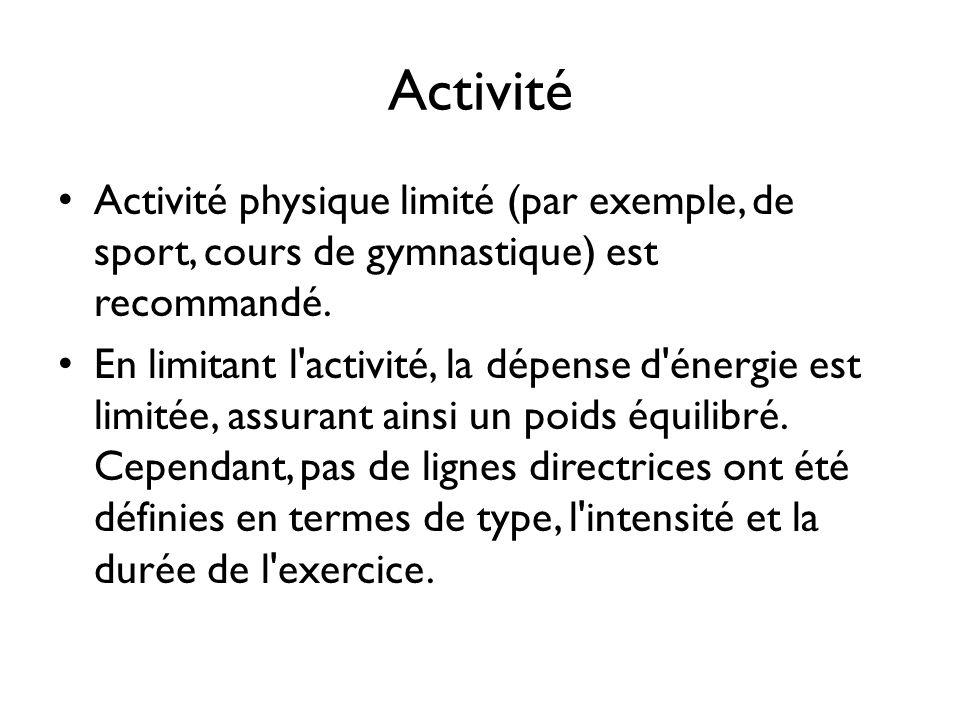 Activité Activité physique limité (par exemple, de sport, cours de gymnastique) est recommandé. En limitant l'activité, la dépense d'énergie est limit