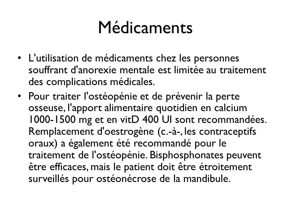 Médicaments L'utilisation de médicaments chez les personnes souffrant d'anorexie mentale est limitée au traitement des complications médicales. Pour t