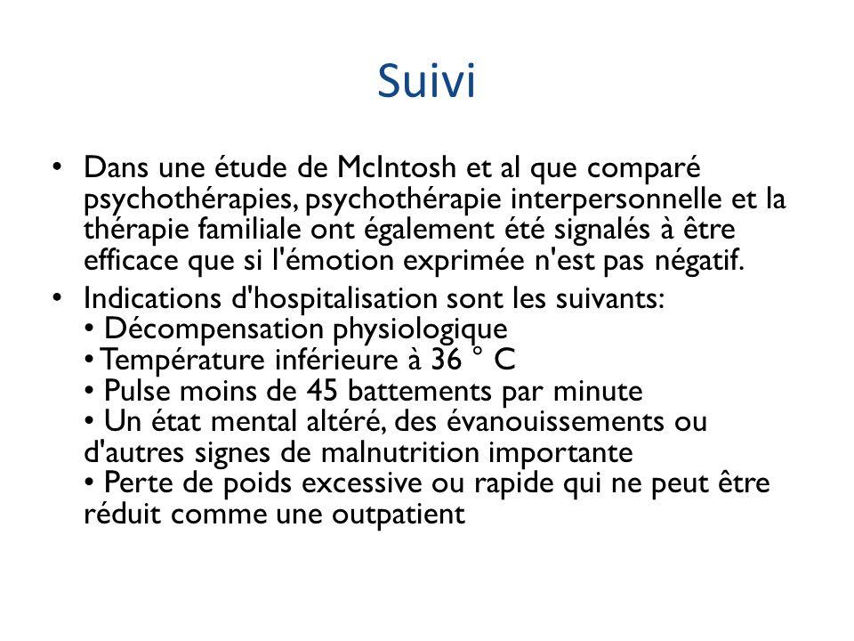 Suivi Dans une étude de McIntosh et al que comparé psychothérapies, psychothérapie interpersonnelle et la thérapie familiale ont également été signalé