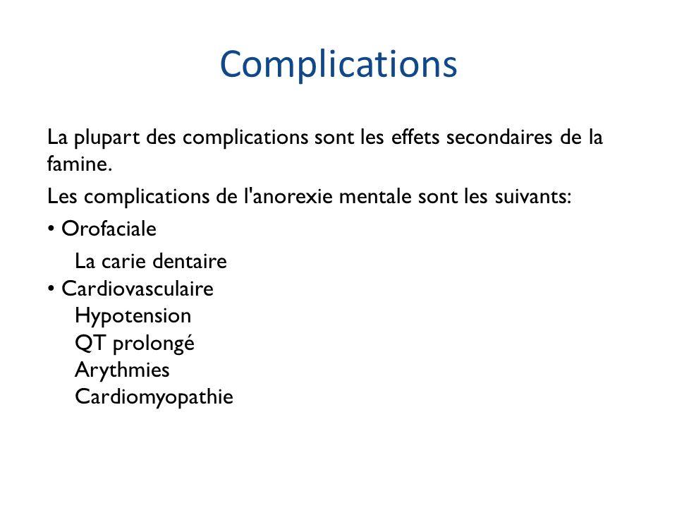 Complications La plupart des complications sont les effets secondaires de la famine. Les complications de l'anorexie mentale sont les suivants: Orofac