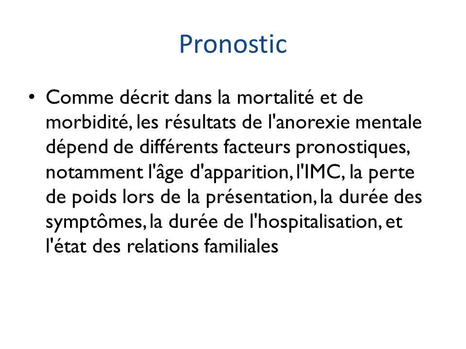 Pronostic Comme décrit dans la mortalité et de morbidité, les résultats de l'anorexie mentale dépend de différents facteurs pronostiques, notamment l'