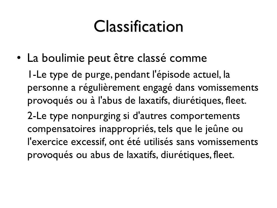 Classification La boulimie peut être classé comme 1-Le type de purge, pendant l'épisode actuel, la personne a régulièrement engagé dans vomissements p