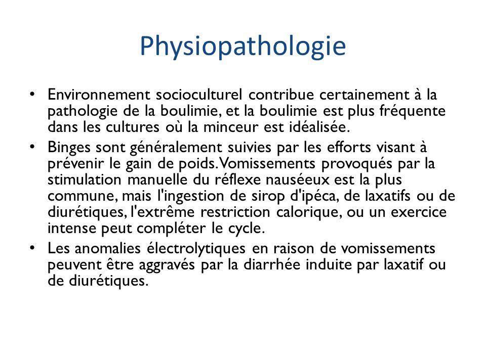 Physiopathologie Environnement socioculturel contribue certainement à la pathologie de la boulimie, et la boulimie est plus fréquente dans les culture