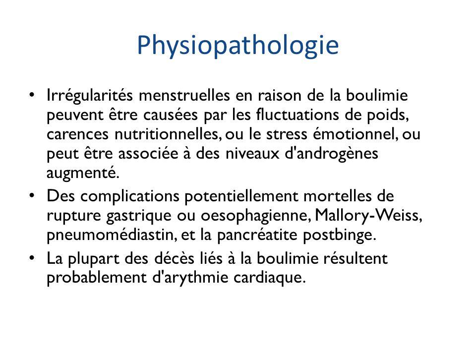 Physiopathologie Irrégularités menstruelles en raison de la boulimie peuvent être causées par les fluctuations de poids, carences nutritionnelles, ou