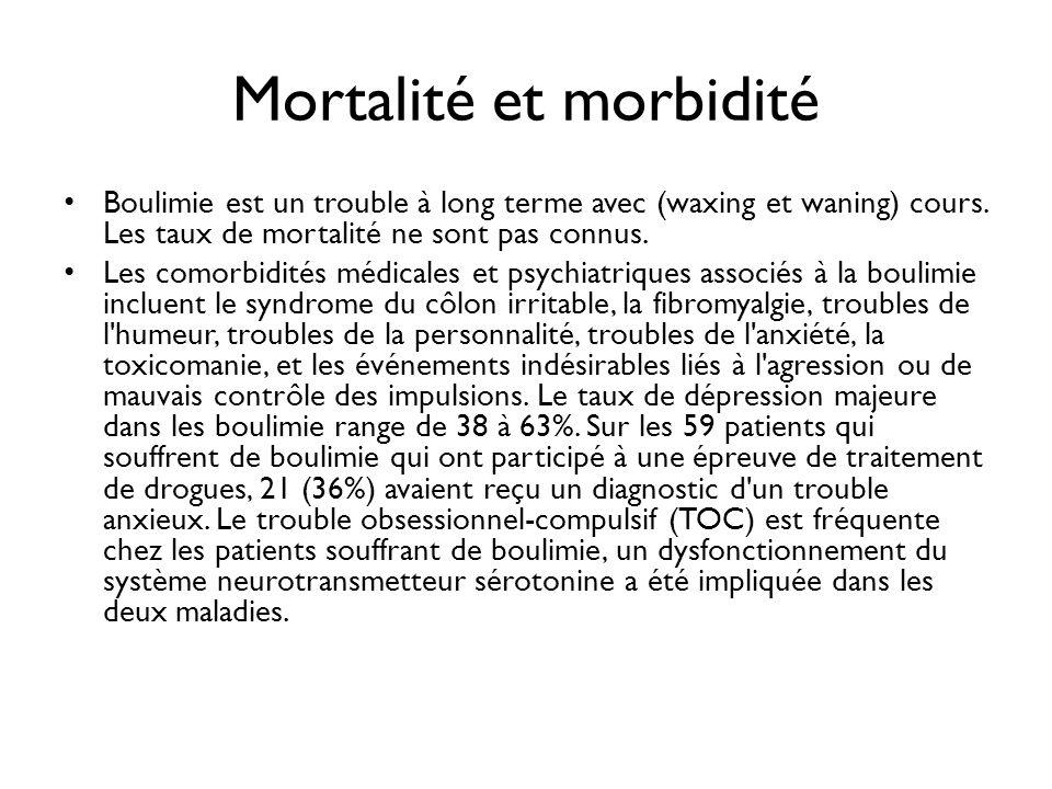 Mortalité et morbidité Boulimie est un trouble à long terme avec (waxing et waning) cours. Les taux de mortalité ne sont pas connus. Les comorbidités