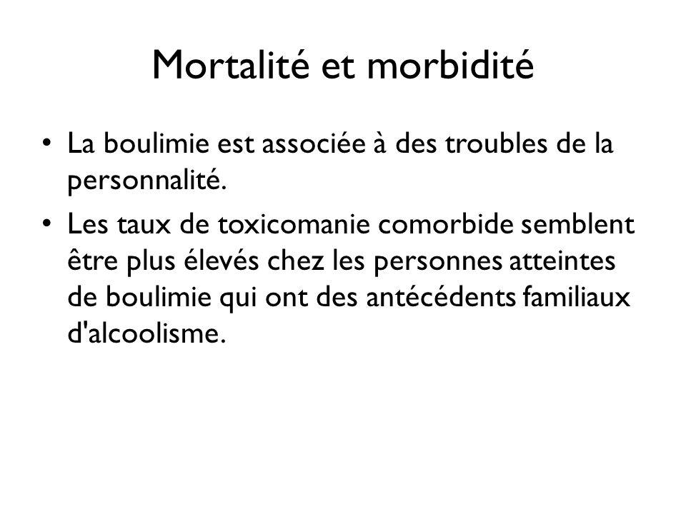 Mortalité et morbidité La boulimie est associée à des troubles de la personnalité. Les taux de toxicomanie comorbide semblent être plus élevés chez le
