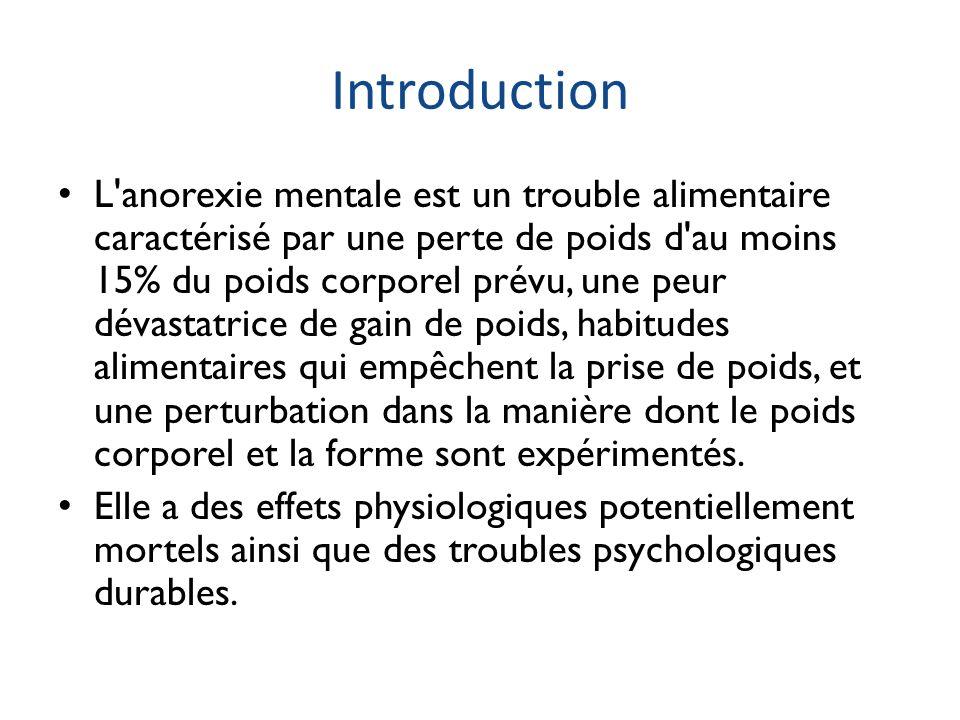 Sévérité L anorexie mentale peut être divisée en un stade précoce ou légère et un stade établi.