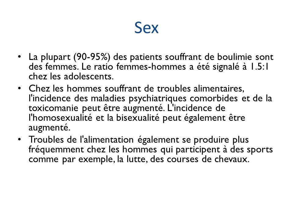 Sex La plupart (90-95%) des patients souffrant de boulimie sont des femmes. Le ratio femmes-hommes a été signalé à 1.5:1 chez les adolescents. Chez le