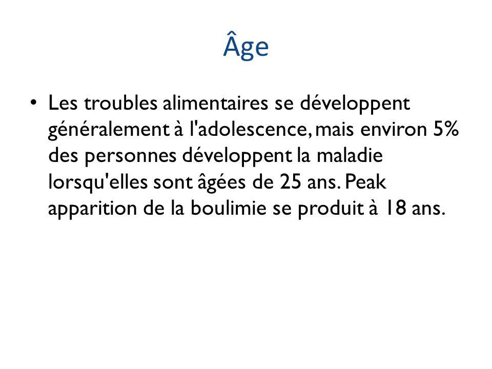 Âge Les troubles alimentaires se développent généralement à l'adolescence, mais environ 5% des personnes développent la maladie lorsqu'elles sont âgée