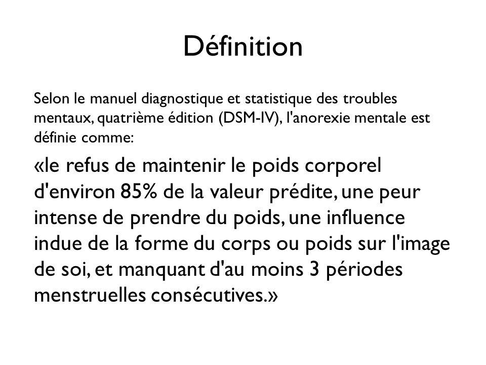 Définition Selon le manuel diagnostique et statistique des troubles mentaux, quatrième édition (DSM-IV), l'anorexie mentale est définie comme: «le ref