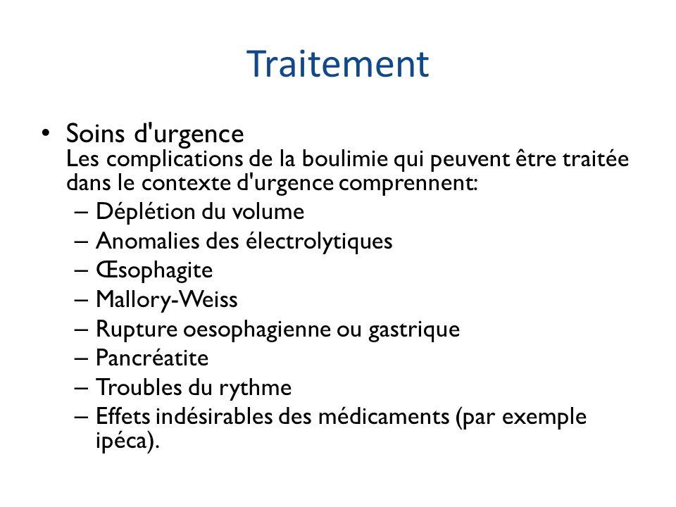 Traitement Soins d'urgence Les complications de la boulimie qui peuvent être traitée dans le contexte d'urgence comprennent: – Déplétion du volume – A