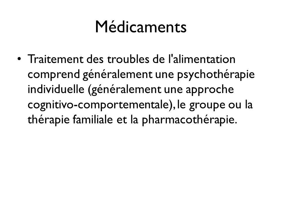 Médicaments Traitement des troubles de l'alimentation comprend généralement une psychothérapie individuelle (généralement une approche cognitivo-compo