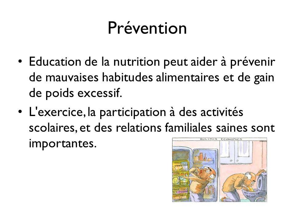 Prévention Education de la nutrition peut aider à prévenir de mauvaises habitudes alimentaires et de gain de poids excessif. L'exercice, la participat