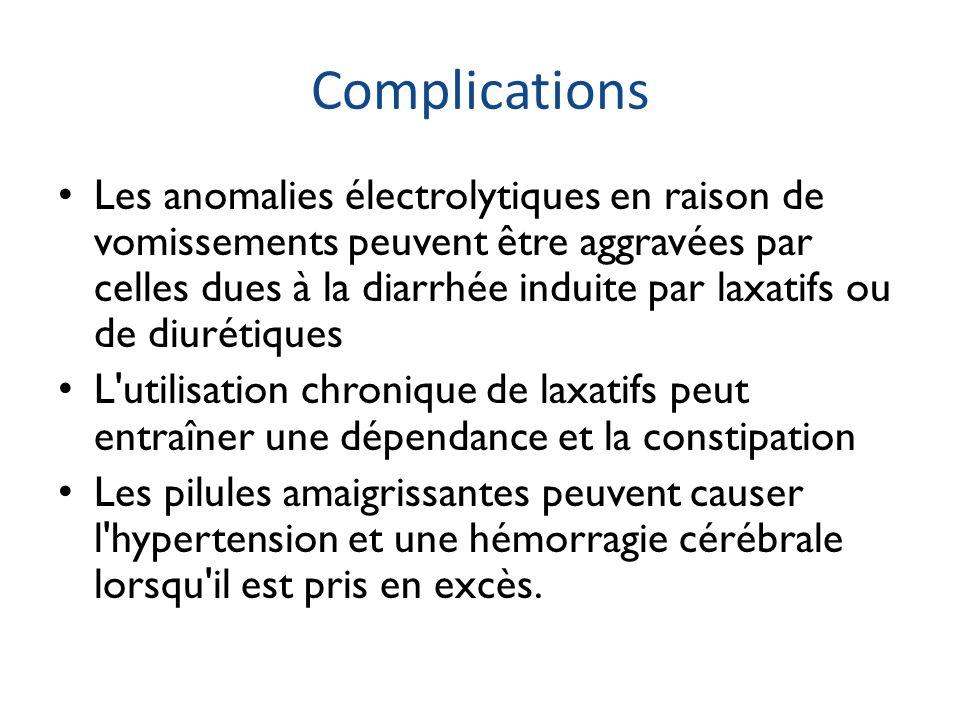 Complications Les anomalies électrolytiques en raison de vomissements peuvent être aggravées par celles dues à la diarrhée induite par laxatifs ou de