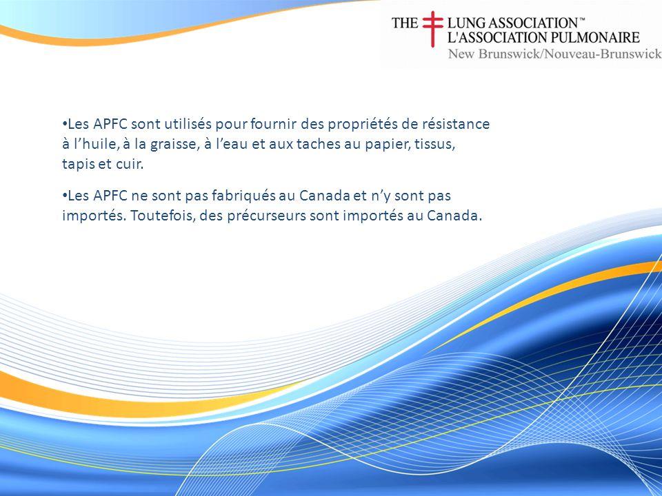 Les APFC ne sont pas fabriqués au Canada et ny sont pas importés. Toutefois, des précurseurs sont importés au Canada. Les APFC sont utilisés pour four