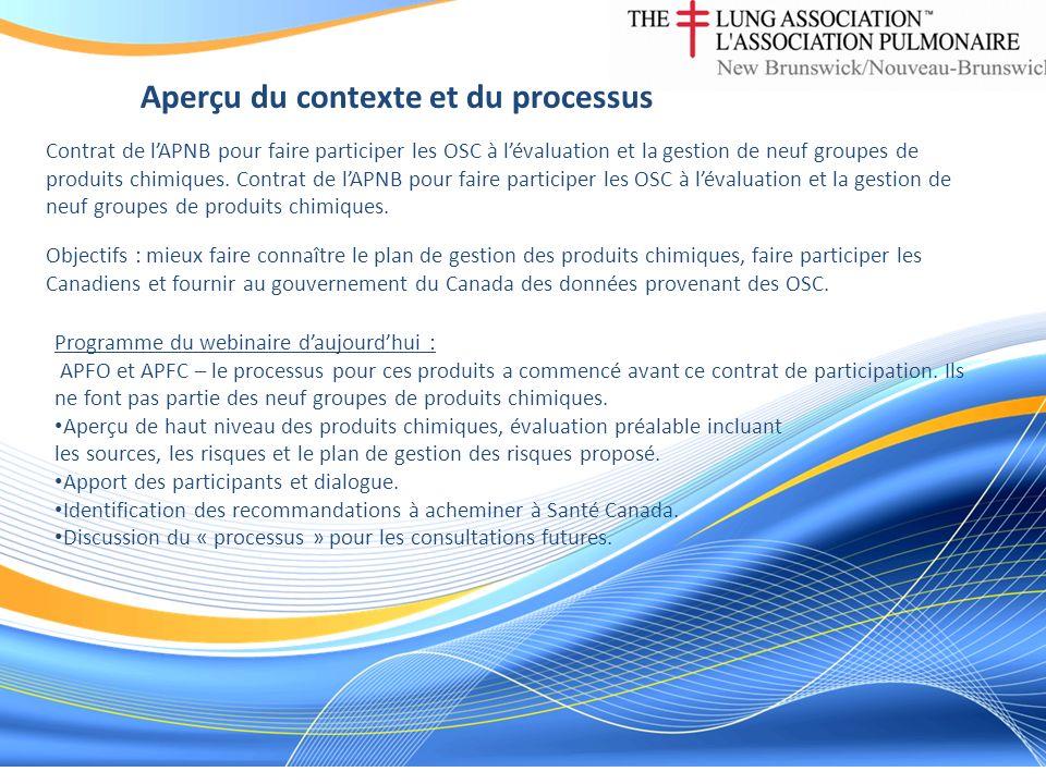 Aperçu du contexte et du processus Contrat de lAPNB pour faire participer les OSC à lévaluation et la gestion de neuf groupes de produits chimiques. O