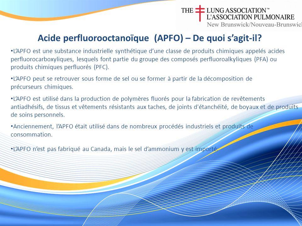 Acide perfluorooctanoïque (APFO) – Comment est-il rejeté dans lenvironnement et comment les Canadiens y sont-ils exposés LAPFO peut être rejeté dans lenvironnement durant la fabrication de polymères fluorés, tout au long de la vie utile des articles qui en contiennent, lors de leur mise au rebut, dans les effluents deaux usées ou par la lixiviation dans les sites d enfouissement.