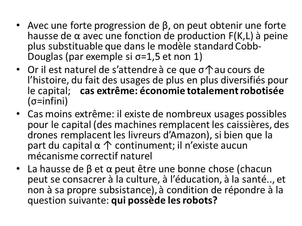Avec une forte progression de β, on peut obtenir une forte hausse de α avec une fonction de production F(K,L) à peine plus substituable que dans le modèle standard Cobb- Douglas (par exemple si σ=1,5 et non 1) Or il est naturel de sattendre à ce que σau cours de lhistoire, du fait des usages de plus en plus diversifiés pour le capital; cas extrême: économie totalement robotisée (σ=infini) Cas moins extrême: il existe de nombreux usages possibles pour le capital (des machines remplacent les caissières, des drones remplacent les livreurs dAmazon), si bien que la part du capital α continument; il nexiste aucun mécanisme correctif naturel La hausse de β et α peut être une bonne chose (chacun peut se consacrer à la culture, à léducation, à la santé.., et non à sa propre subsistance), à condition de répondre à la question suivante: qui possède les robots