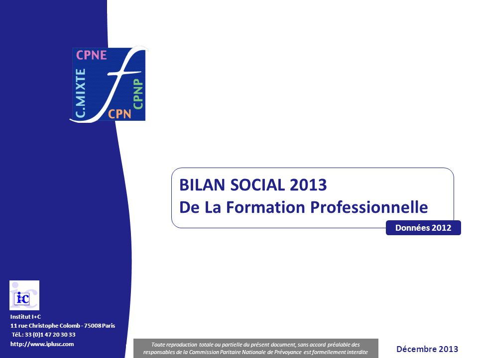 BILAN SOCIAL de la Formation Professionnelle Diffusion et reproduction interdites Institut I+C 11 rue Christophe Colomb - 75008 Paris Tél.: 33 (0)1 47
