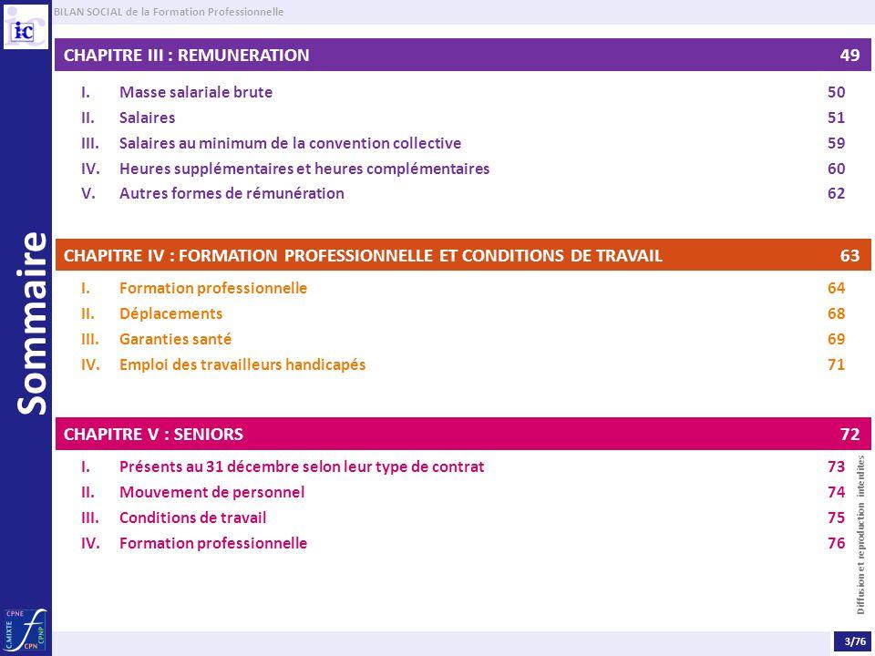 BILAN SOCIAL de la Formation Professionnelle Diffusion et reproduction interdites Sommaire CHAPITRE III : REMUNERATION 49 I.