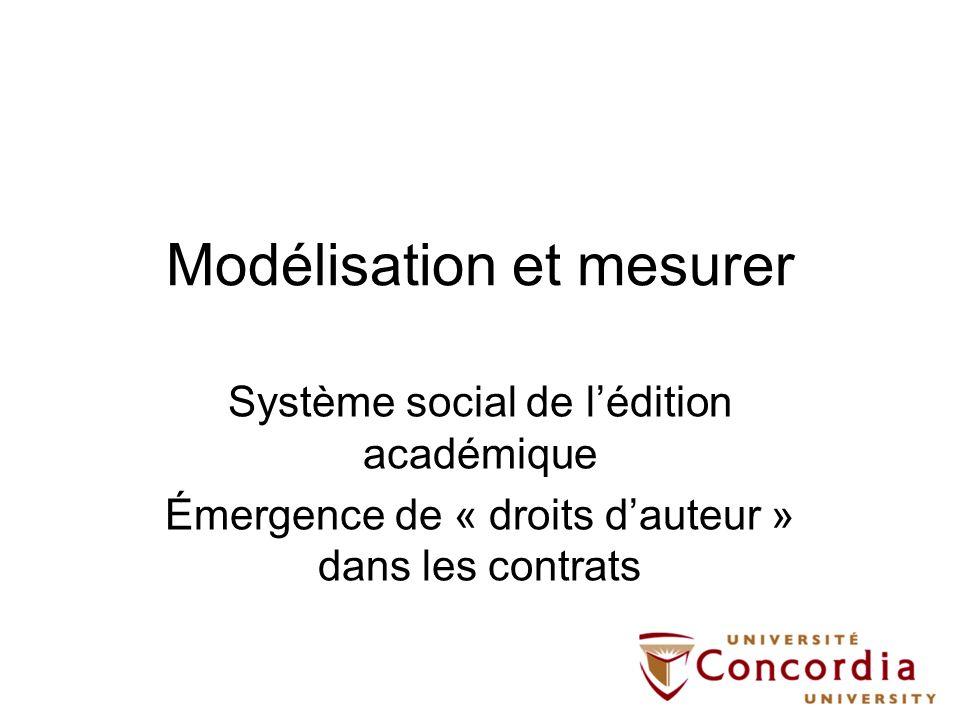 Modélisation et mesurer Système social de lédition académique Émergence de « droits dauteur » dans les contrats