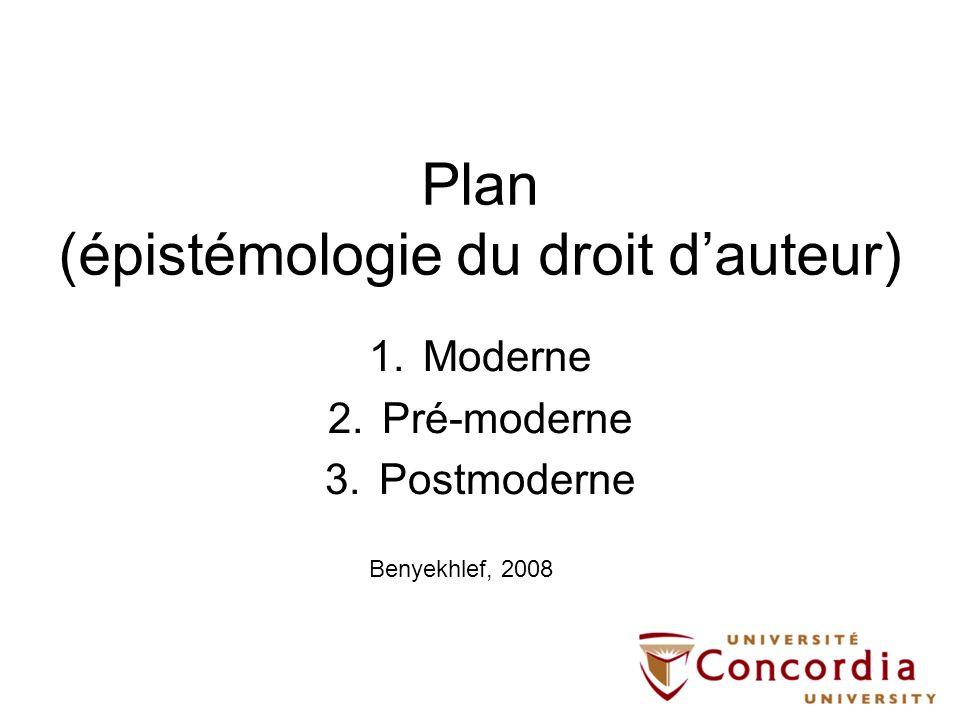 Plan (épistémologie du droit dauteur) 1.Moderne 2.Pré-moderne 3.Postmoderne Benyekhlef, 2008