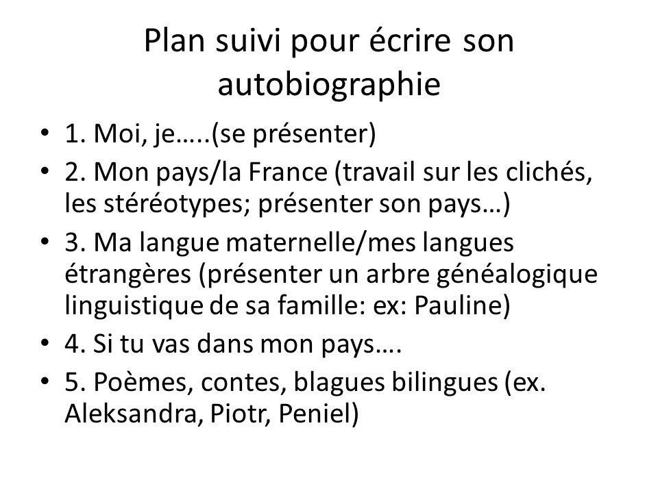 Plan suivi pour écrire son autobiographie 1. Moi, je…..(se présenter) 2. Mon pays/la France (travail sur les clichés, les stéréotypes; présenter son p