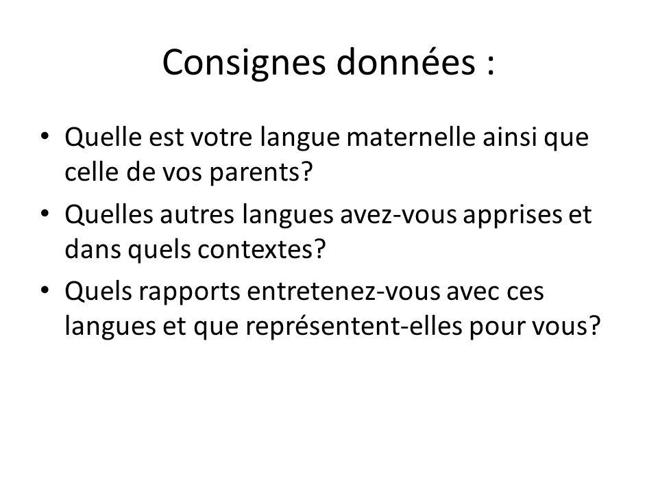 Consignes données : Quelle est votre langue maternelle ainsi que celle de vos parents? Quelles autres langues avez-vous apprises et dans quels context